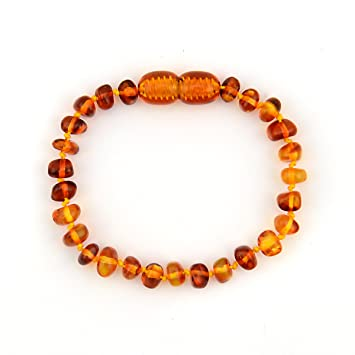 ALVABABY Amber Teething Bracelet or Anklet for Babies /(Unisex/) - Anti Flammatory Drooling /& Fussiness Reduce Amber Teething Bracelet or Anklet ATB04-CA