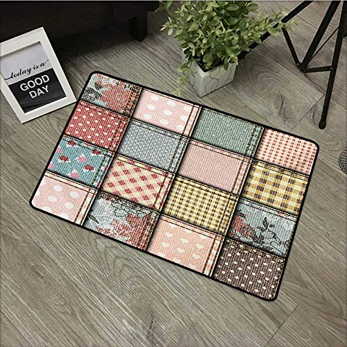 Living Room Door mat W24 x L35 INCH Shabby Chic,Patchwork Denim Seem Fabric Pieces with Stitches Square Tile Digital Print,Multicolor Easy to Clean, no Deformation, no Fading Non-Slip Door Mat Carpet
