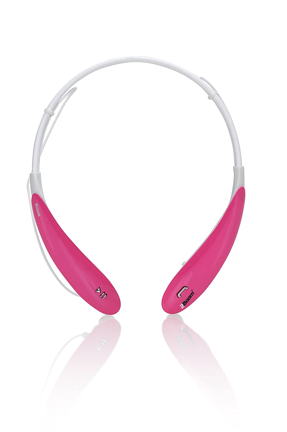 2Boom Bluetooth Earbuds, HiFi Wireless Sport Stereo Headset in Pink/White