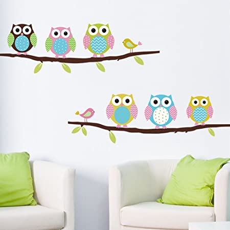 Anself cartoon cute six owl on the tree diy wall wallpaper art decor wall stickers for