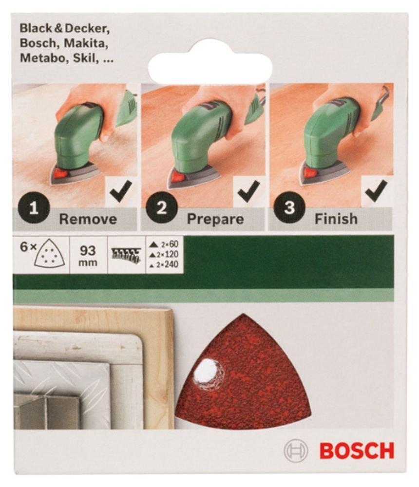 Bosch 2609256A51 Feuilles abrasives pour Ponceuses Delta Diam/ètre 93 mm Nombre de trous 6 Grain 120 Lot de 5 feuilles