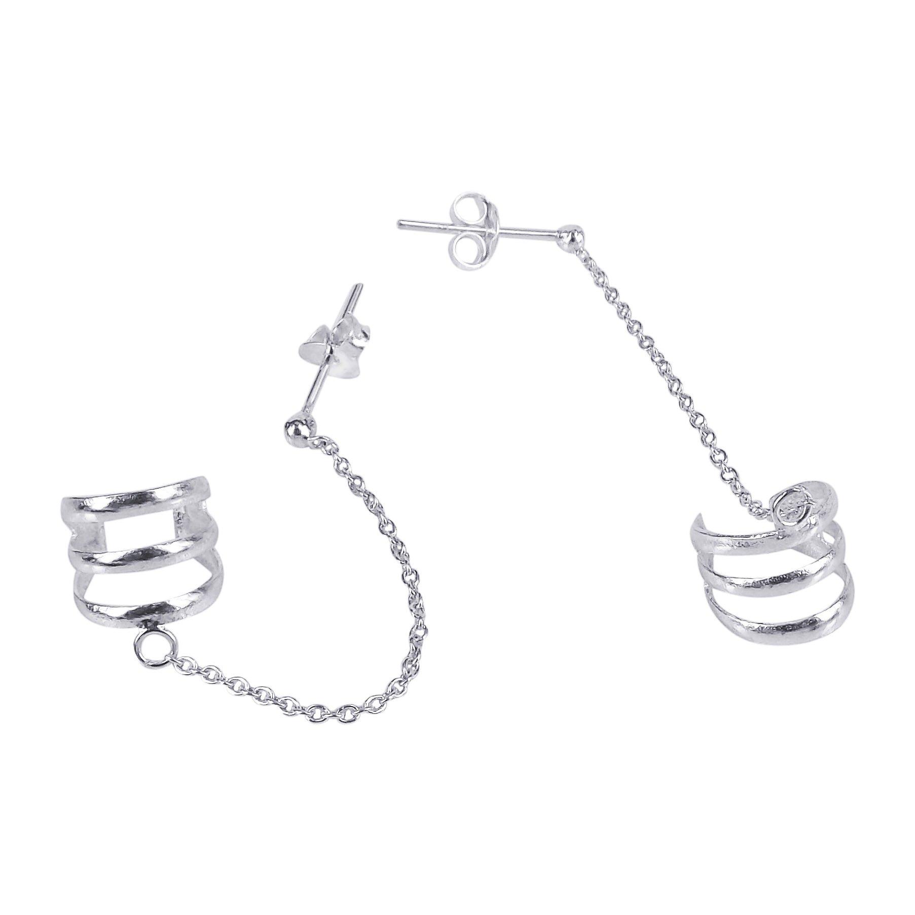 Triple Cuff Chain .925 Sterling Silver Post Earrings