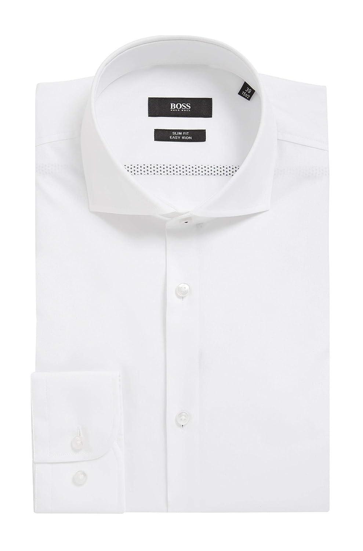 Hugo Boss Mens Jerrin White Slim Fit Cotton Dress Shirt 17.5 34//35