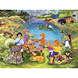 Bits and Pieces - 300 Large Piece Jigsaw Puzzle for Adults - Barbeque at the Lake - 300 pc Summer Scene Jigsaw by Artist Sandy Rusinko