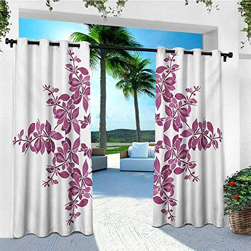 leinuoyi Purple, Outdoor Curtain Waterproof, Autumn Vine Bridal Flower Bouquet Vintage Style Circle of Leaves Laurel Wreath, for Privacy W72 x L108 Inch Violet - Bouquet Autumn Leaf