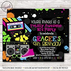 TOTALLY AWESOME 80s GIRL BIRTHDAY PARTY INVITATION