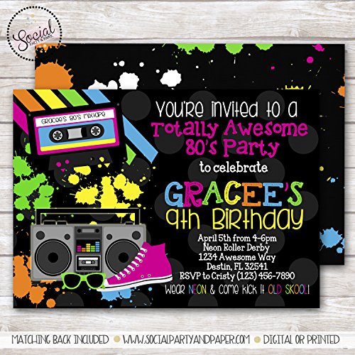 TOTALLY AWESOME 80s GIRL BIRTHDAY PARTY INVITATION -