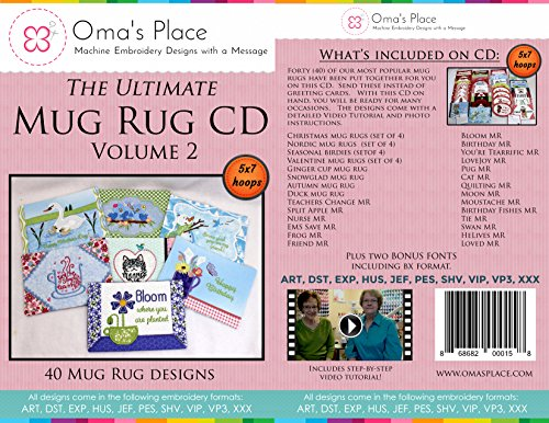 (Oma's Place The Ultimate Mug Rug CD - Vol 2-40 Mug Rug Designs for The 5x7 Hoops)