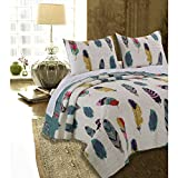N2 3 Piece Ivory Teal Blue Dreamcatcher Quilt Full Queen Set, Dream Catcher Bedding Western Bohemian Southwest Feathers Pattern God Gray Pinions Red Feathered Native American, Cotton Polyester