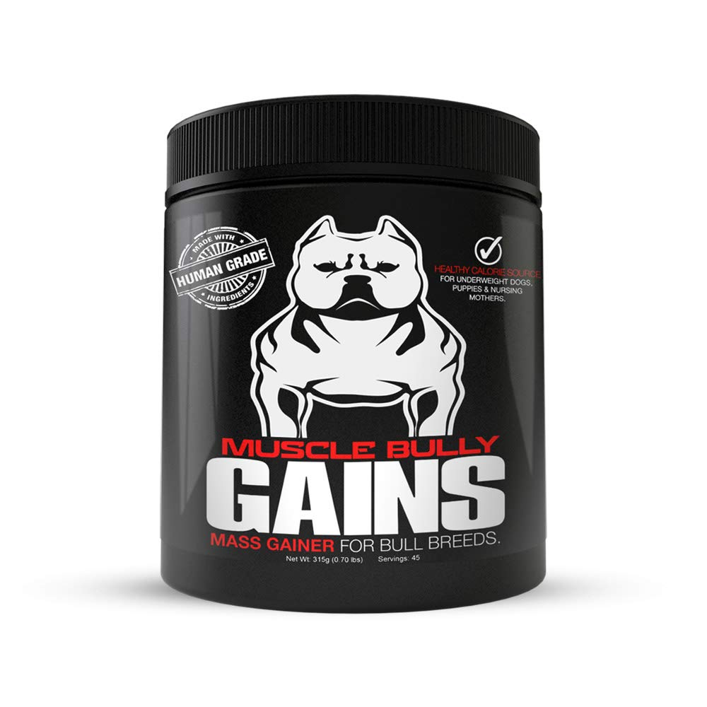 Muscle Bully Gains – Mass Weight Gainer, Whey Protein for Dogs Bull Breeds, Pit Bulls, Bullies Increase Healthy Natural Weight, Made in The USA