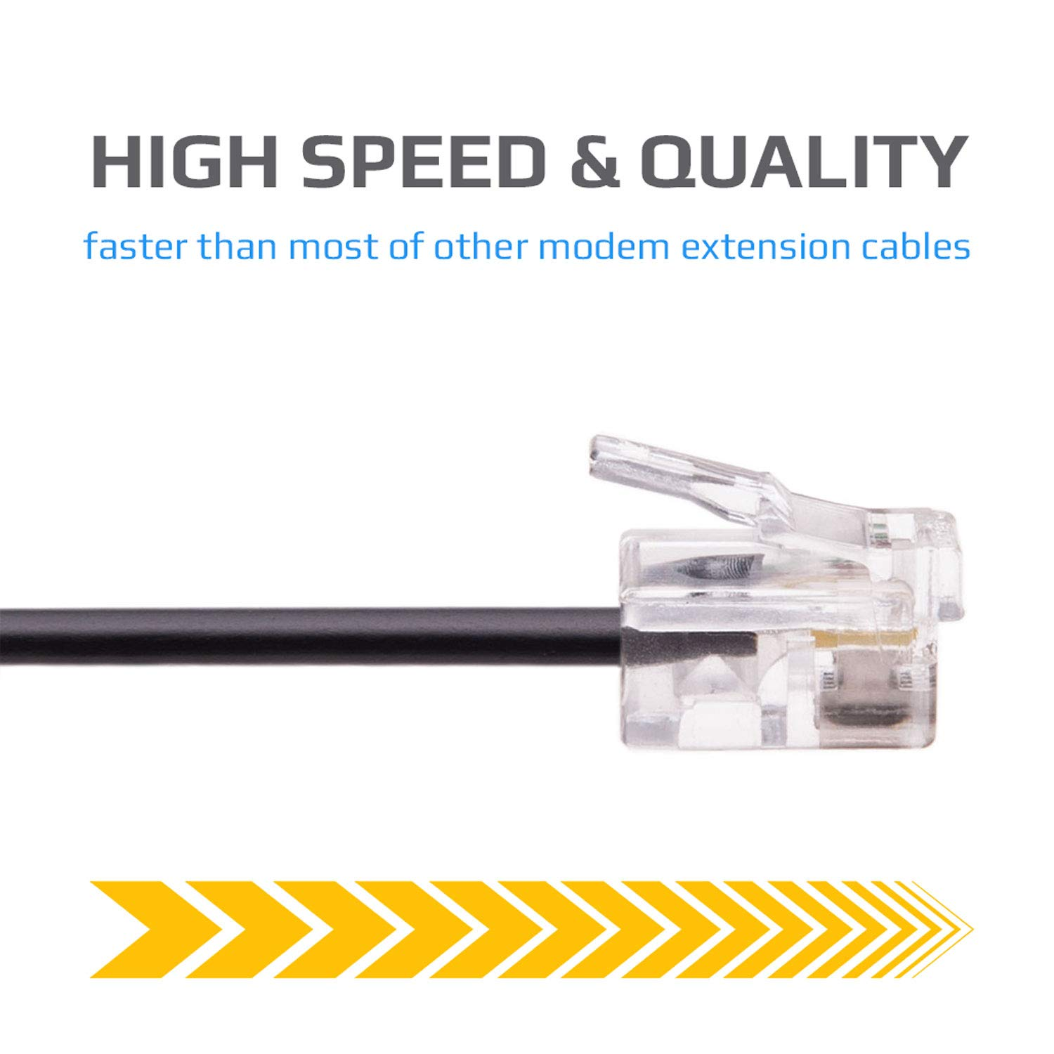Landline Wire Microfilter RJ11 3ft Cord ADSL Extension Lead Phone Cable Telephone Plug High Speed Internet Broadband Male to Male Router and Modem to RJ11 Phone Socket Black