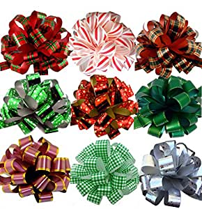 """Assorted Large Christmas Pull Bows for Gifts, Wreaths, Garlands - 8"""" Wide, Set of 9, Red, Green, White, Gold, Striped, Plaid"""