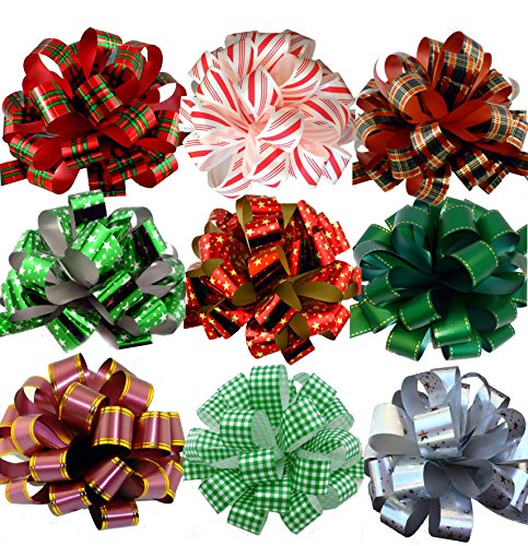 Assorted Large Christmas Pull Bows for Gifts, Wreaths, Garla