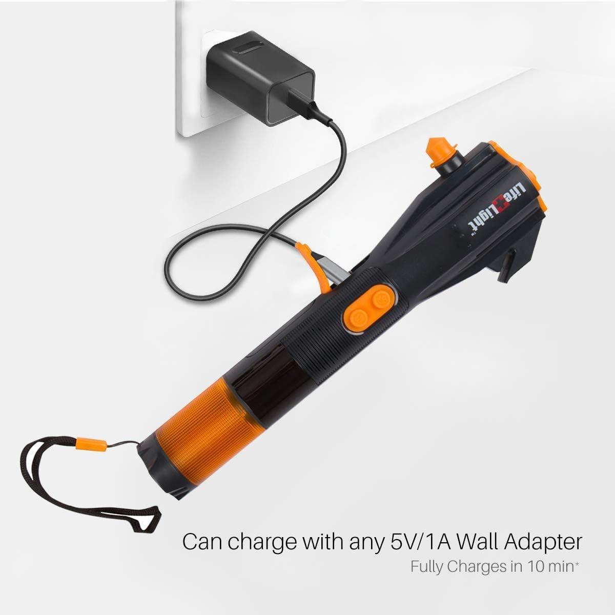 Notfall-Auto-Escape-Toolkit Handkurbel-Ladeger/ät Wasserfest Mehrzweck-Handkurbel-Taschenlampe LED Notfall-Taschenlampe Auto Fensterbrecher und Gurtschneider