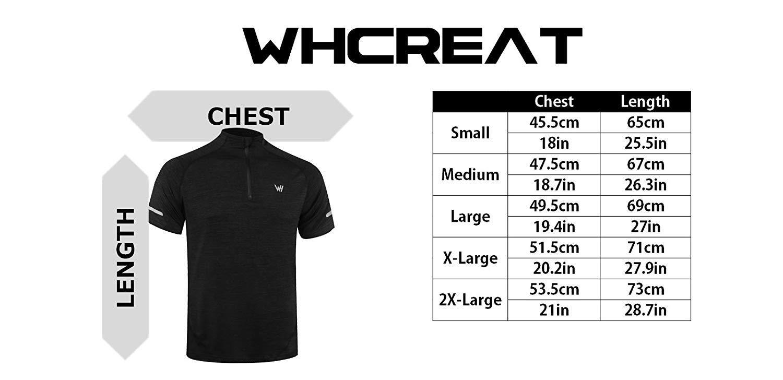 WHCREAT Herren Kurzarm Laufshirt 1//4 Zip T-Shirt Funktionsshirt mit Reflektoren