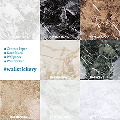 Wallstickery marble contact paper for counter top faux white gray granite wallpaper gloss self adhesive sticky stone look wall stickers removable peel and stick decorative cabinets