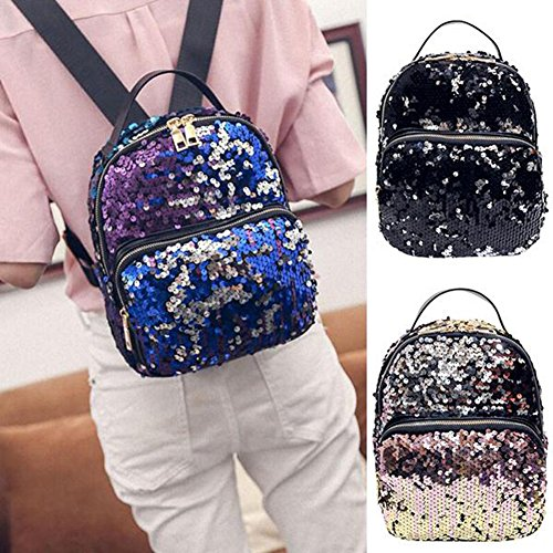 Backpack Faux Pink sale Shoulder Leather Hot Bag angel3292 Travel Bling Fashion Sequins School Women qYOFwnS
