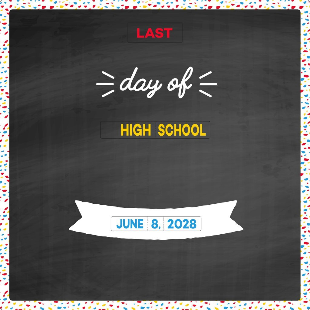 Time Snap First & Last Day of School Milestone Sign, Reusable Photo Prop & Keepsake. Convenient Wheel Design. No Writing Required (Colorful Chalkboard)