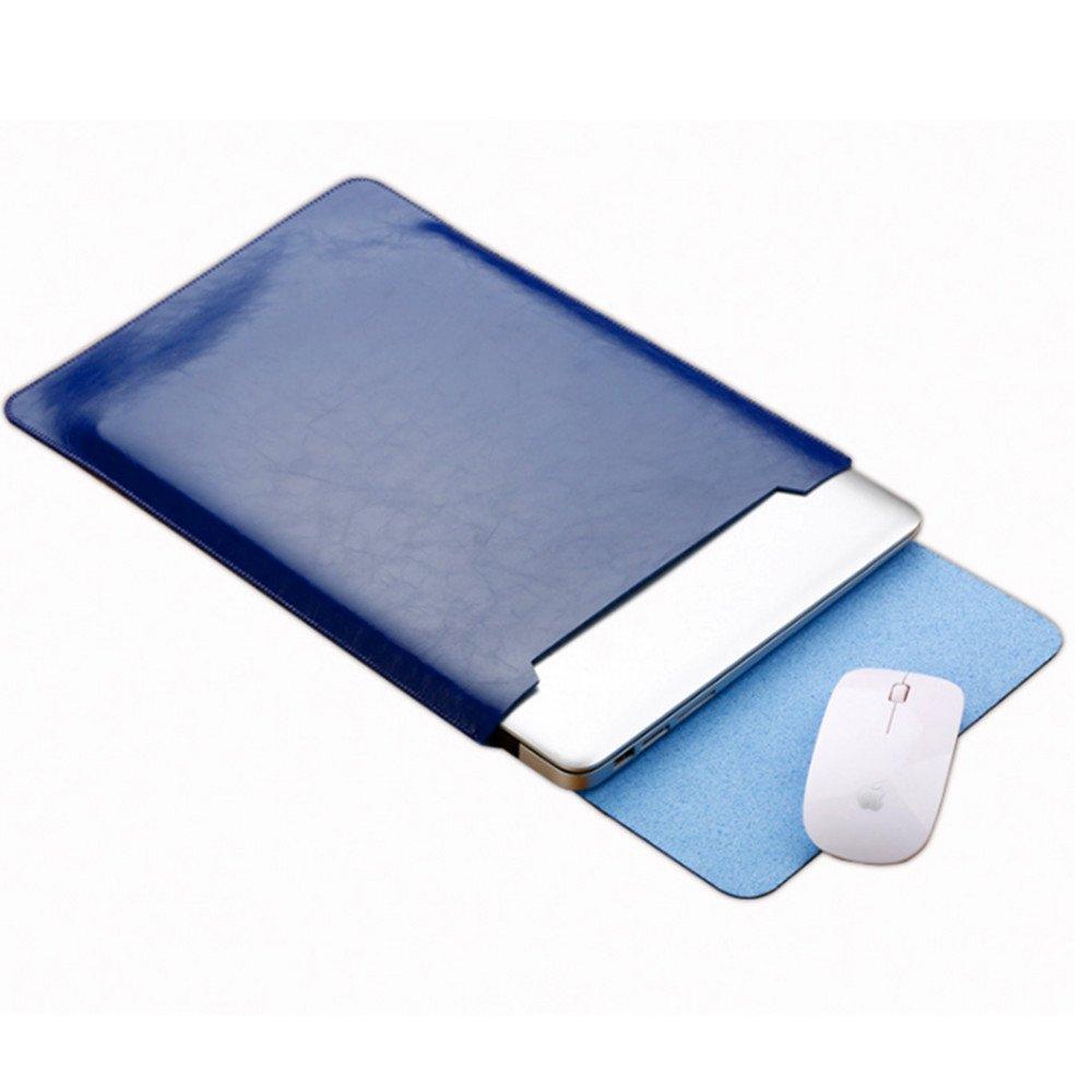 Eleoption Microfiber Soft Leather Laptop Sleeve Slim Case Cover Integrated Mousepad for MacBook 12'', MacBook 11.6'', MacBook 13.3'', MacBook 15.5'' (11.6 inch, Blue)