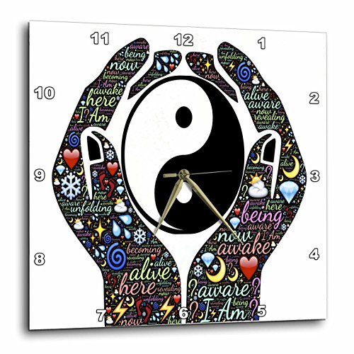 3dRose Motivational Cupped Hands with Sayings and Yin and Yang Sign – Wall Clock, 15 by 15-Inch (dpp_214650_3) Review