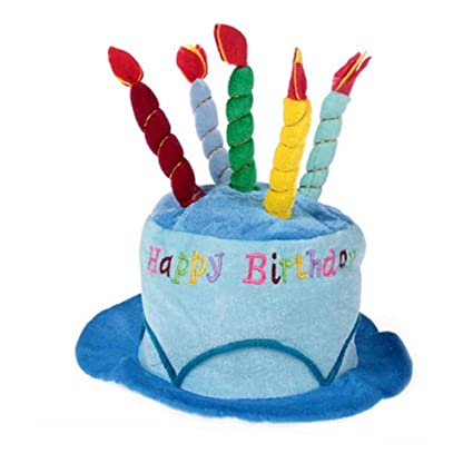 Plush Happy Birthday Party Cake Novelty Top Hat With Candles