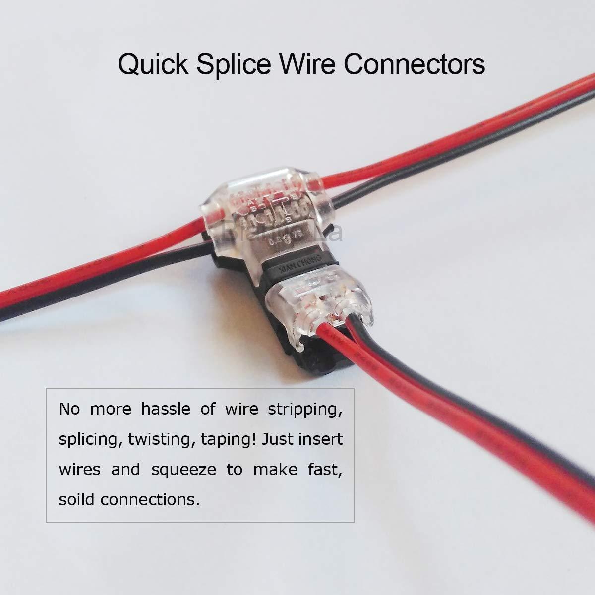 Conectores de cable de empalme r/ápido T 10 piezas de terminales de cable sin soldadura de bajo voltaje de 2 pines para alambre de calibre 20 22