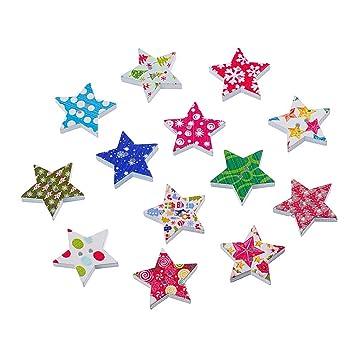 Souarts Gemischte Weihnachten Sterne Holz Knopf zwei Löcher Holz ...