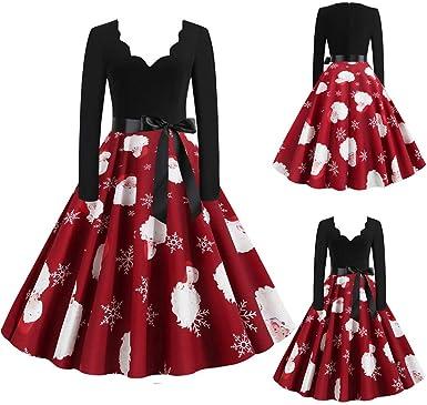 WUSIKY Weihnachtskleider für Damska Geschenk für Frauen Weihnachtskleid Vintage Langarm Christmas 1950er Jahre Hausfrau Abend Party Abendkleid: Odzież