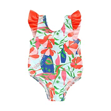 76d84fec4d Amlaiworld Maillot de Bain Fille Une Pièce Impression sans Manches Swimwear  Été Élastique Confortable Combinaison Bikini