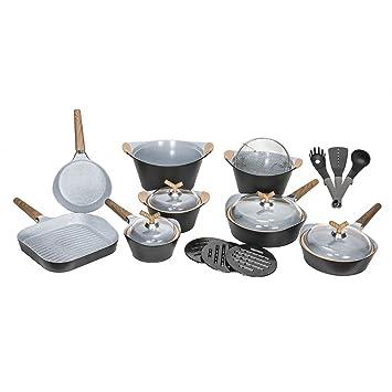 Cecotec Batería de Cocina de 19 Piezas Premium Black Stone Sartenes y ollas de Alta Gama