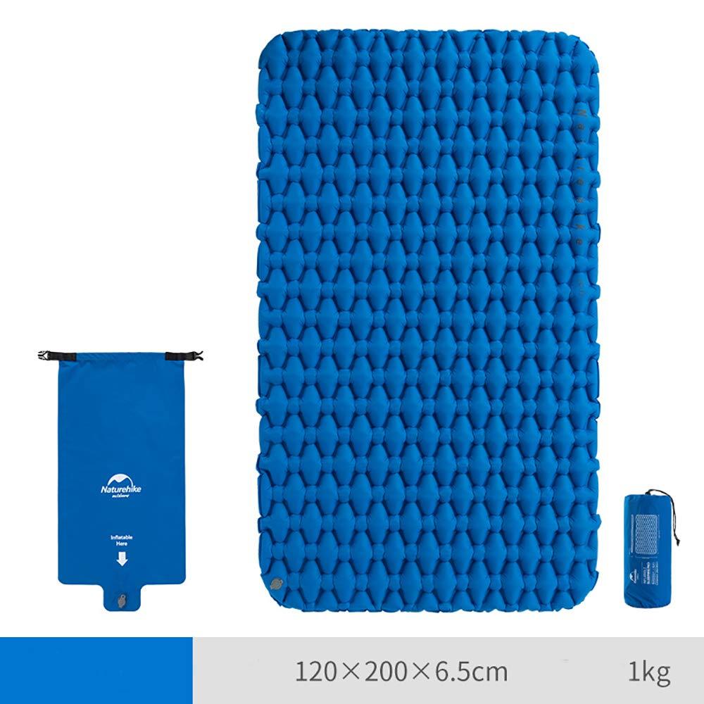 インフレータブルパッドポータブル屋外キャンプマットダブルテント睡眠パッド家肥厚防湿パッド  blue B07PNB51S5