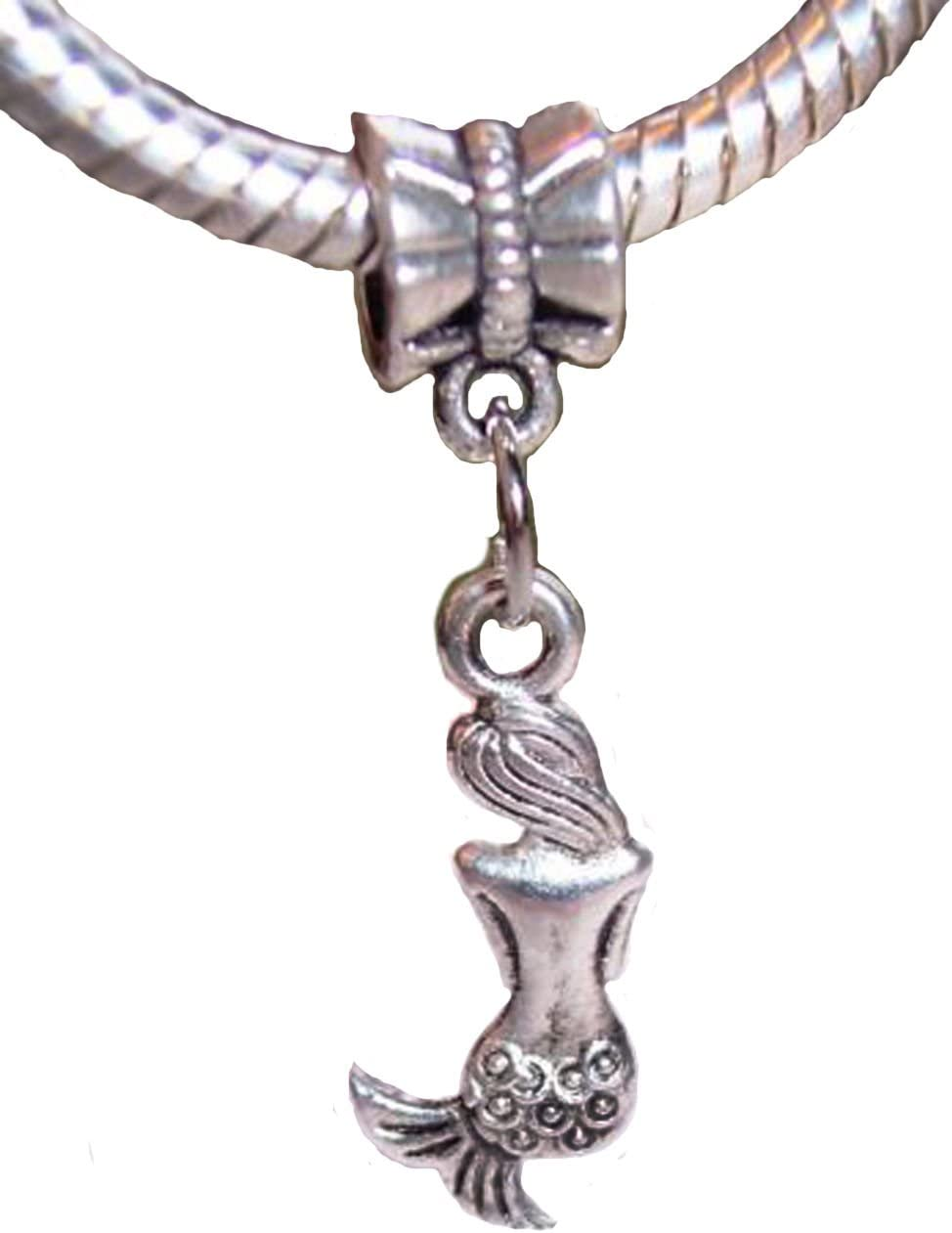 Mermaid Back Ocean Siren Legend Beach Dangle Charm for European Bead Bracelets