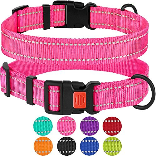 Collardirect Reflective Dog Collar Safety Nylon Collars For Dogs With Buckle Outdoor Adjustable Puppy Collar Small Medium Large Neck Fit 18 26 Pink