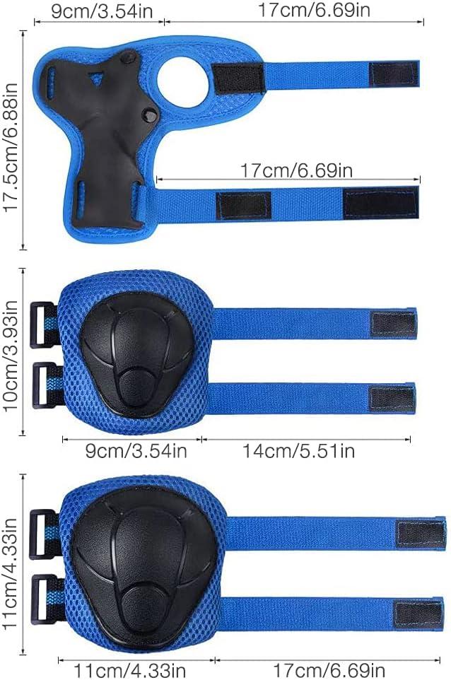 Furado Sets de Protection Enfant,Protection Kit 6 en 1 pour Coudi/ère et Genouill/ère,Protection Roller Skateboard,Cyclisme V/élo Enfant Sets de Protection,Sport Equipement Protection Enfant