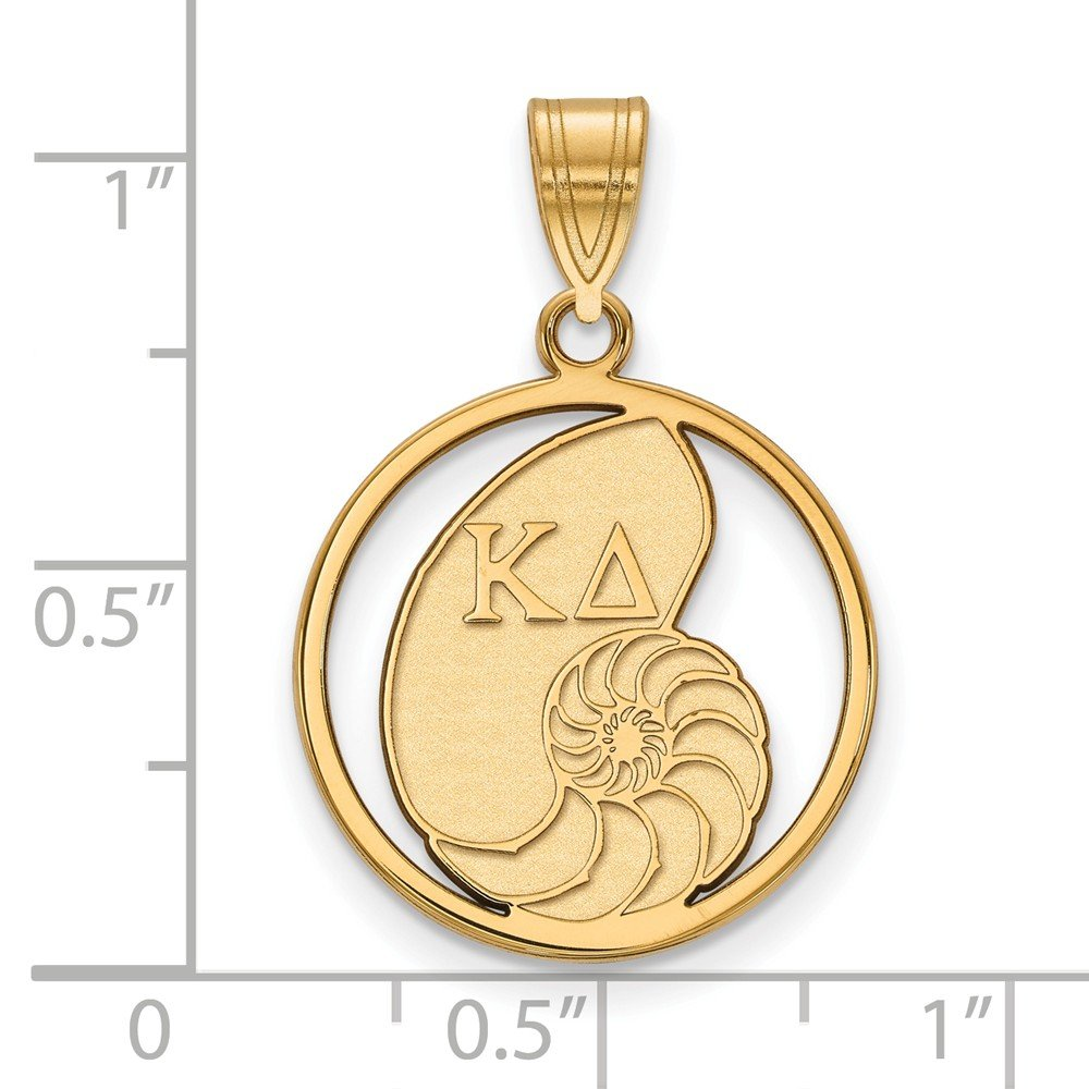 Solid 925 Sterling Silver with Gold-Toned Kappa Delta Small Circle Pendant 18mm x 27mm