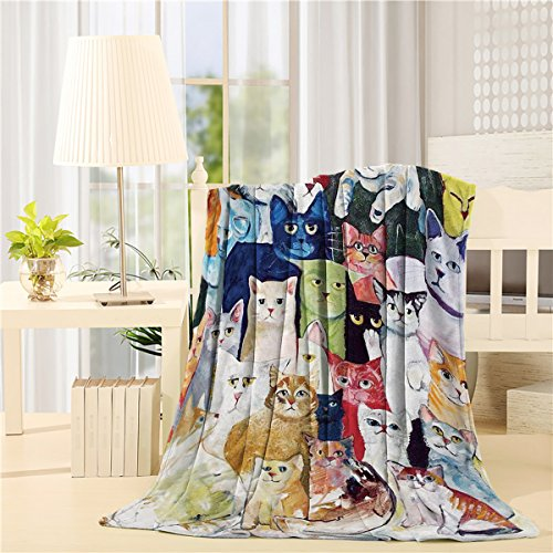"Price comparison product image CHAOGO Luxury Flannel Throw Blanket Digital Printing 50""x60"" Cats Flurry Unique Air Conditioning Travel Camping Blankets Lightweight Sofa Couch Bed"