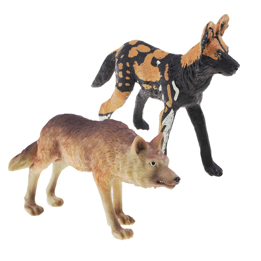 SM SunniMix シミュレーションアニマル プラスチック製 野生動物の模型おもちゃ ジャングルアニマルフィギュア 子供のパーティーの記念品 誕生日ギフト 教育玩具 2ピース   B07H8CM978