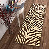 Well Woven Non-Skid Slip Rubber Back Antibacterial 2x7 (2' x 7' Runner) Rug Brown Zebra Animal Print Stripes Modern Thin Low Pile Machine Washable Indoor Outdoor Kitchen Hallway Entry