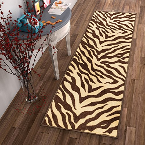 Chocolate Zebra Print - Well Woven Non-Skid Slip Rubber Back Antibacterial 2x5 (1'8
