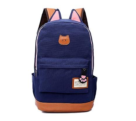 Lounayy Damas Hombres Mochila Escolar Niños Mochila Diseño De La Lona Cat Girl Moda Mochila Oreja
