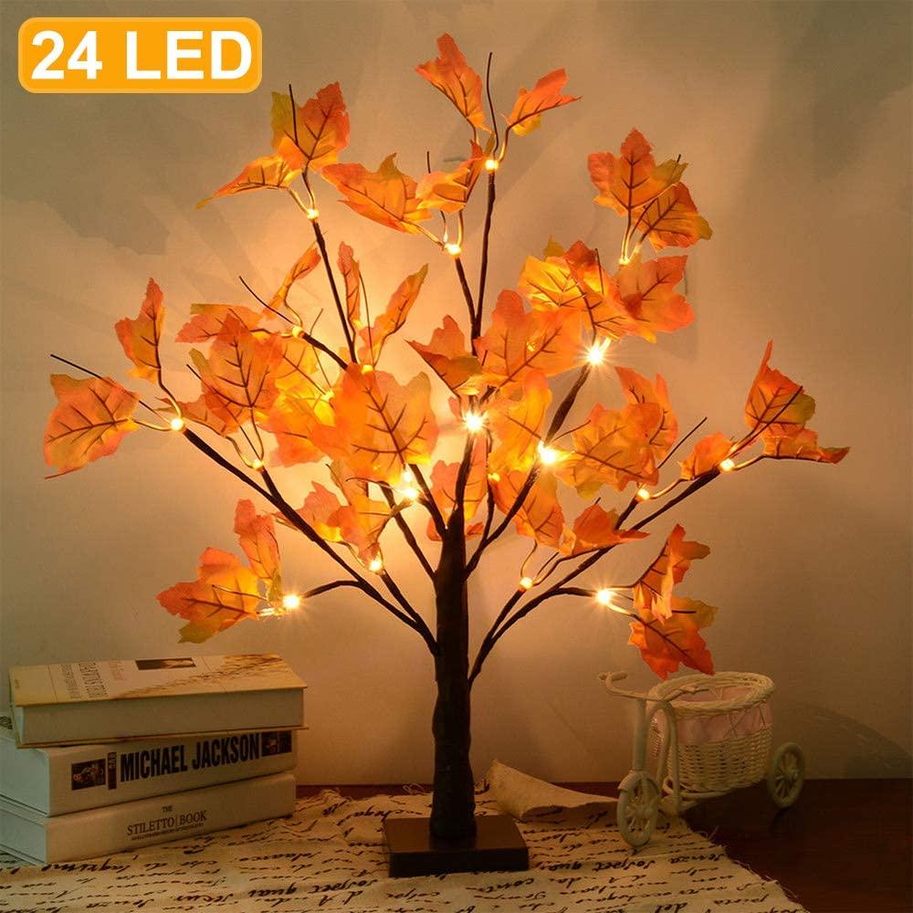 Artificial Fall Lighted Maple Tree 24 LED Thanksgiving Christmas Decorations Table Lights Battery Operated for Christmas Wedding Party Gifts Indoor Outdoor Harvest Home Decor