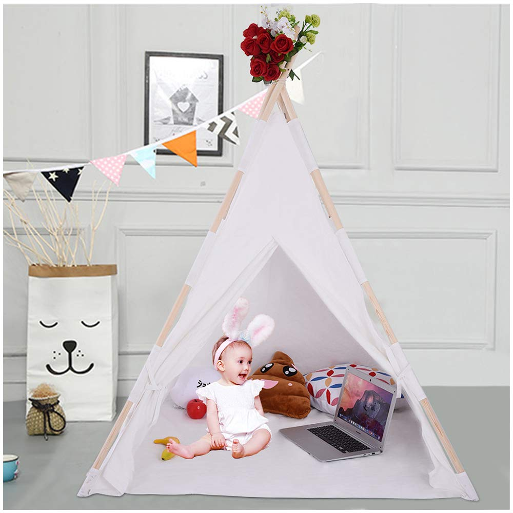 Kids Teepee Playhouse | Boys Girls Soft Canvas Happy Hut Play Tent for Pretend Play or Ball Pit | fashion Indian Play House Tipi Wigwam Toddler Room Decor Childs Reading Nook (White Boy And Girl Tent)