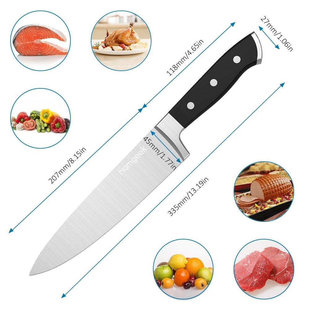 61Gl0cIxx3L. SL1000  Homgeek Chef Knife, coltello da cucina tedesco in acciaio con lama da 20 cm