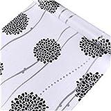 HOYOYO 17x78 Inches Self Adhesive Shelf Liner, Moisture Proof Drawer Paper Shelf Liner Mildew Proof Antifouling Wall paper, White Black Hydrangea