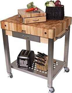 product image for John Boos Cucina Technica End Grain Maple Butcher Block on Stainless Steel Rolling Cart, 24 x 24 Inch