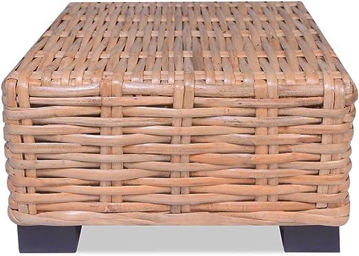 vidaXL Mesa de Centro de Jardín de Ratán Mesilla Mesita de Café Mueble Auxiliar de Exterior Mobiliario Patio Terraza Material Tipo Mimbre: Amazon.es: Hogar