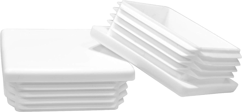 Prescott Plastics 2 Inch Square White Plastic Plug, Heavy Duty Tubing Post End Cap (4)