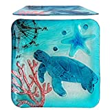 Comfy Hour 12'' Decorative Ocean Coastal Turtle Starfish Coral Marin Compass Square Glass Plate, Dishwasher Safe, Blue