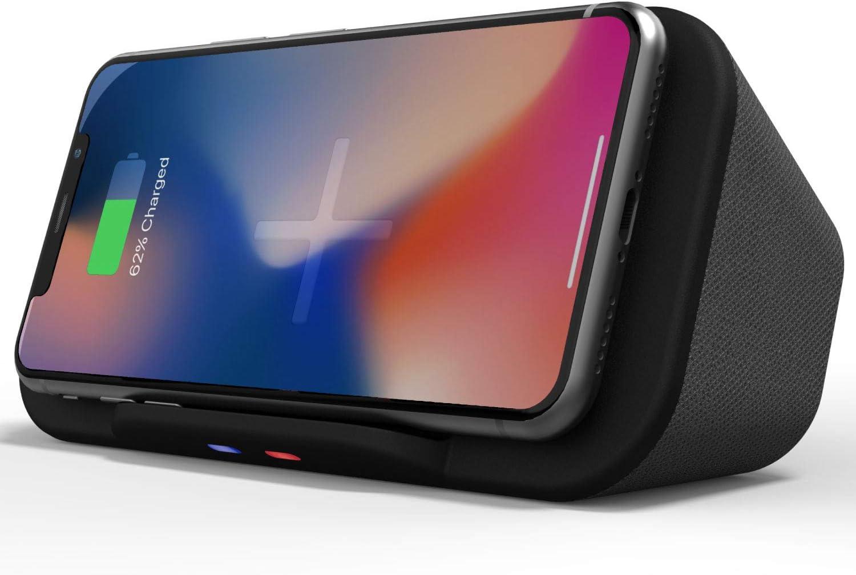 Base de Altavoces portátil Bluetooth con Cargador inalámbrico QI Banco de energía y Soporte para teléfono