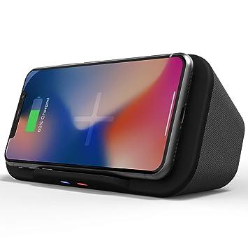 Base de Altavoz Bluetooth portátil con Cargador inalámbrico QI Powerbank Soporte de teléfono 6 W Altavoz de Acoplamiento estéreo para iPhone 11, XS, ...